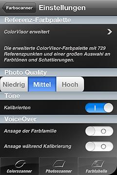 Ansicht der Farbscanner-Einstellungen