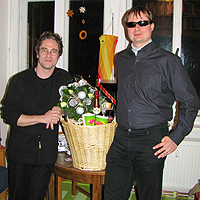 Jan Blüher and Torsten Becker getting the Sektfrühstück Award of the MDR Jump radio station for the development of the ColorVisor.