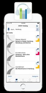 iPhone mit laufender Hörbücherei-App