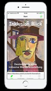 """iPhone mit Startseite der laufenden App """"Inklusion im Blick"""""""