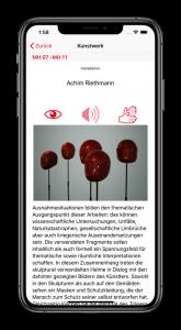 iPhone mit laufender AllSense-App in welcher ein Kunstwerk beschrieben wird