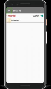 Pixel 3 Smartphone mit laufender BlindFind-App welche ein in der Nähe befindliches Ziel auflistet.