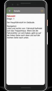 Pixel 3 Smartphone mit laufender BlindFind-App, in welcher Informationen und der Weg zu einem ausgewählten Ziel geliefert werden.