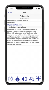 iPhone mit laufender BlindFind-App, in welcher Informationen und der Weg zu einem ausgewählten Ziel geliefert werden.