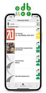 Iphone mit laufender blista-leselust-App. Auf dem Bildschirm ist die Mediathek abgebildet. Oben steht das Logo der blista-leselust-App.